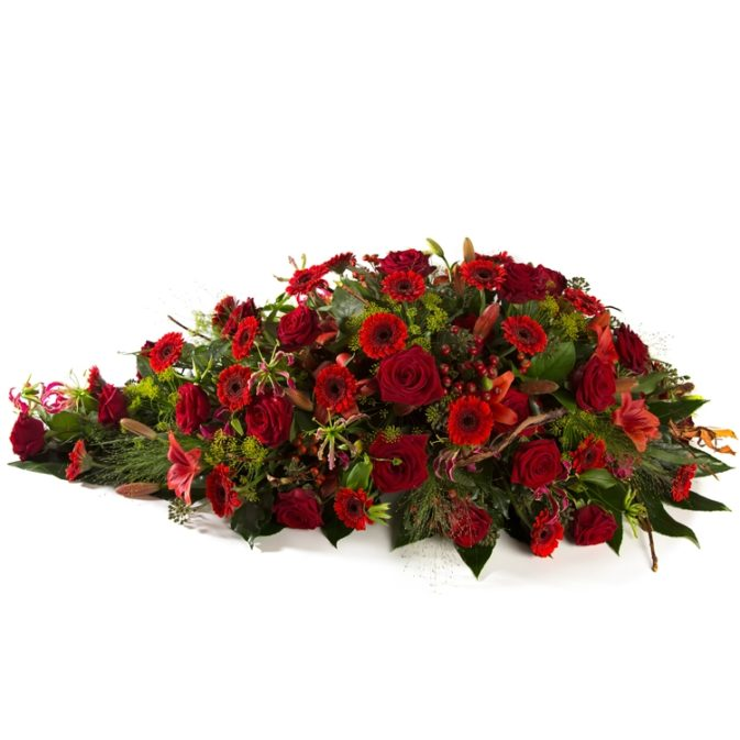 Rode rozen rouwarrangement