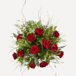 Rode rozen boeket bovenaanzicht
